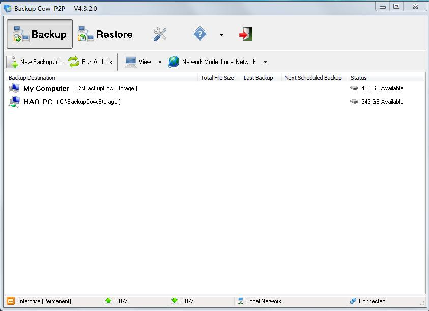 how to create a backup on a network